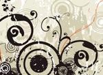 Black Flowers Swirls Vector Illustration