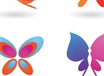 4 Colorful Butterfly Shapes Vector Graphics
