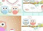 5 Cute Owls With Heart Vector Illustrations