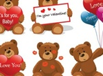 6 Lovable Valentine's Teddy Bears Vector Set
