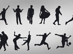 12 People In Action Silhouettes Vector Set