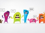 Colorful Cute Vector Monsters Set