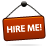Hire, Me, Red, Sign Icon