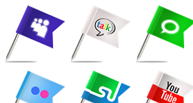Flag Social Media Icons Set Icons