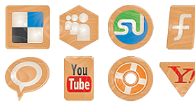 Social Icons Made Of Wood Icons