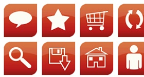 Glossy Red Web Icons