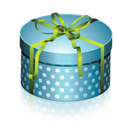 Blue, Box, Gift, Round Icon