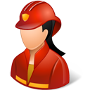 Female, Firefighter, Light Icon