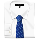 Blue, Shirt, Stripes, Tie, With Icon
