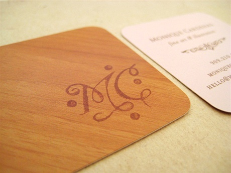 wooden,round corner business card