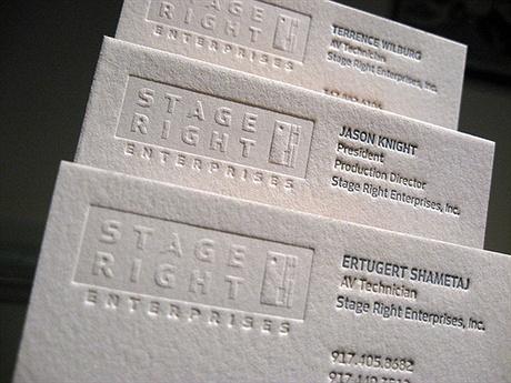 embossed,letterpress business card